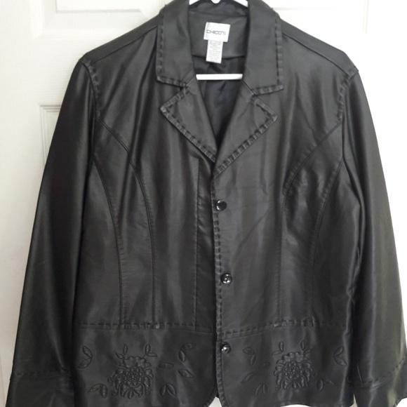 Chico's Jackets & Blazers - Chico's Black Pleather Jacket
